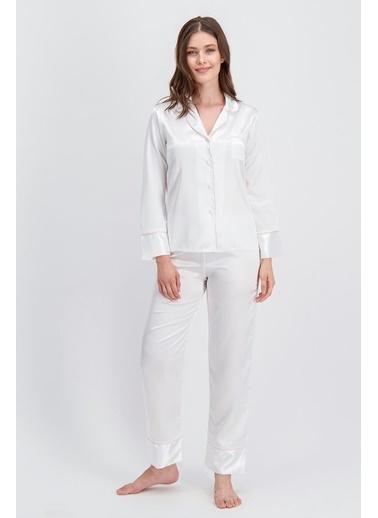 Arnetta Arnetta Basic Ekru Kadın Saten Gömlek Pijama Ekru